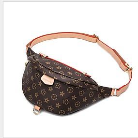 preiswerte Taschen-Damen Reißverschluss PU Hüfttasche Gestreift Kaffee