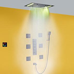 preiswerte Duscharmaturen-Bad Dusche Wasserhahn Set / 50x36 cm LED-Duschkopf / Handbrause enthalten / heißes und kaltes Bad Mischventil / Messing / modern