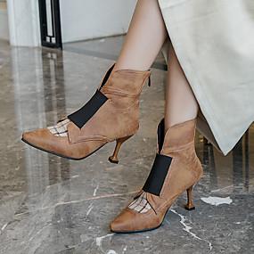billige Mote Boots-Dame Støvler Liten hæl Spisstå PU Ankelstøvler Forretning / minimalisme Vinter Svart / Brun / Fest / aften / Fargeblokk