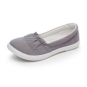 voordelige Damesschoenen met platte hak-Dames Platte schoenen Platte hak Ronde Teen Kanten stiksel Canvas Informeel Zomer Wit / Grijs