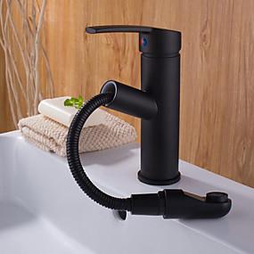 preiswerte Kitchen & Bathroom-Waschbecken Wasserhahn - Verbreitete Chrom / Schwarz Freistehend Einhand Ein LochBath Taps