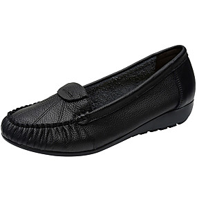 voordelige Damesschoenen met platte hak-Dames Platte schoenen Sleehak Leer Herfst / Lente zomer Bruin / Blauw / Bordeaux