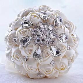 preiswerte Hochzeitsblumen-Hochzeitsblumen Sträuße Hochzeit / Hochzeitsfeier Ripsband / Glas / Aluminium-Magnesium-Legierung 11-20 cm
