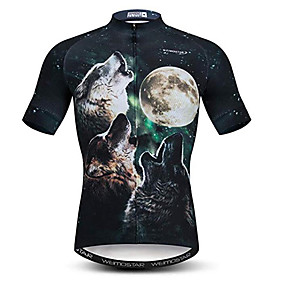 cheap Cycling & Motorcycling-21Grams 3D Wolf Animal Men's Short Sleeve Cycling Jersey - Black+White Bike Jersey Top Quick Dry Moisture Wicking Breathable Sports Summer Elastane Polyester Mountain Bike MTB Road Bike Cycling