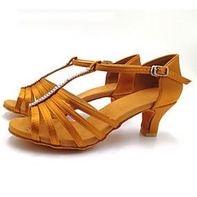 preiswerte Tanzschuhe-Damen Tanzschuhe Satin Schuhe für den lateinamerikanischen Tanz Kristall Verzierung Absätze Kubanischer Absatz Schwarz / Braun / Leistung / Leder
