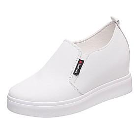 voordelige Damesinstappers & loafers-Dames Loafers & Slip-Ons Verborgen hiel Ronde Teen PU Informeel Zomer Zwart / Wit