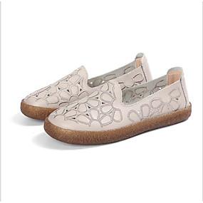 voordelige Damesinstappers & loafers-Dames Loafers & Slip-Ons Platte hak Ronde Teen Polyester Lente Wit / Grijs / Lichtbruin