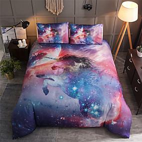 preiswerte Streu-Einhornbettwäschesatz für bunten Tierkarikatur-Bettbezug der Bettdecke mit Kissenbezügen verdoppeln die vollen neuen Königin-Königgrößenkinder