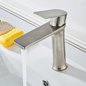 preiswerte Kitchen & Bathroom-Waschbecken Wasserhahn - Verbreitete Gebürstet Freistehend Einhand Ein LochBath Taps