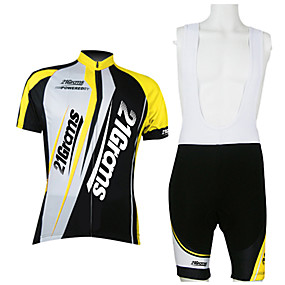 cheap Cycling & Motorcycling-Men's 21Grams Cycling Jersey with Bib Shorts Short Sleeve Red / White Yellow Blue Patchwork Bike Breathable Quick Dry Moisture Wicking Sports Mountain Bike MTB Road Bike Cycling Patchwork Clothing