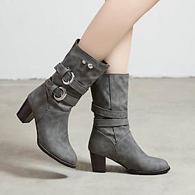 billige Mote Boots-Dame Støvler Tykk hæl Rund Tå Spenne PU Støvletter Fritid / minimalisme Vinter Grå / Lilla / Mandel