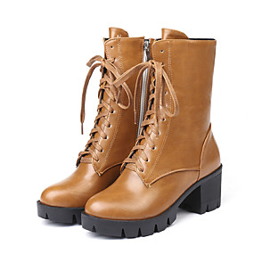 billige Mote Boots-Dame Støvler Tykk hæl Rund Tå PU Støvletter Vintage / Britisk Høst vinter Svart / Gul / Grå / Fest / aften