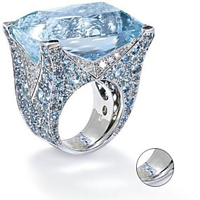 preiswerte Gravierte Ringe-Personalisiert Angepasst Blau Kubikzirkonia Ring Klassisch Geschenk Versprechen Festival Geometrische Form 1pcs Silber