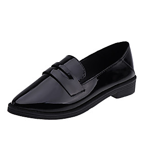 voordelige Damesinstappers & loafers-Dames Loafers & Slip-Ons Comfort schoenen Blok hiel Gepuntte Teen PU Zomer Zwart / Beige / Bruin