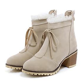billige Mote Boots-Dame Støvler Tykk hæl Rund Tå Sløyfe PU Ankelstøvler Fritid / Britisk Høst vinter Svart / Gul / Rød / Fest / aften