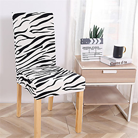 cheap Slipcovers-Zebra Print Super Soft Chair Cover Stretch Removable Washable Dining Room Chair Protector Slipcovers Home Decor Dining Room Seat Cover
