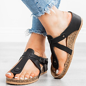 voordelige Damesschoenen met platte hak-Dames Platte schoenen Sleehak Ronde Teen Gesp PU Zomer Zwart / Bruin