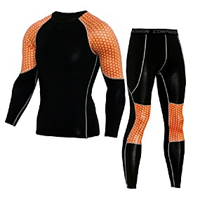 cheap Men's Activewear-JACK CORDEE Men's 2 Piece Activewear Set Workout Outfits Compression Suit Athletic 2pcs Quick Dry Breathable Fitness Gym Workout Basketball Sportswear Green and Black Black / Orange Activewear High