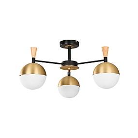preiswerte Beleuchtung-moderne kronleuchter mit 3 lampen deckenleuchte mit glaslampenschirmen kronleuchter für esszimmer deckenleuchte unterputz golden / weiß