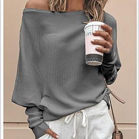 preiswerte Damenbekleidung-Damen Solide Langarm Lose Pullover Pullover Jumper, Schulterfrei Schwarz / Weiß / Rote S / M / L