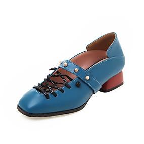 voordelige Damesinstappers & loafers-Dames Loafers & Slip-Ons Blok hiel Vierkante Teen Siernagel PU Vintage Zomer / Herfst Bruin / Blauw / Roze