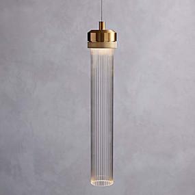 povoljno Lámpatestek-jednostruki privjesak svjetiljka minimalistički privjesak svjetlo staklo sjenilo cilindar privjesak rasvjeta ambijentalno svjetlo galvanski brušenog metala novi dizajn vodio toplo bijelo