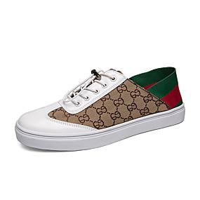 voordelige Damessneakers-Dames Sneakers Platte hak Ronde Teen PU Informeel Wandelen Lente & Herfst Goud / Wit / Zwart en Gold / Kleurenblok