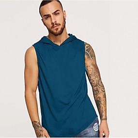 ราคาถูก จัดส่งฟรี-สำหรับผู้ชาย ขนาดของยุโรป / อเมริกา เสื้อกล้าม ฮู้ด สีพื้น สีดำ / เสื้อไม่มีแขน