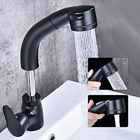 preiswerte Kitchen & Bathroom-Waschbecken Wasserhahn - Verbreitete / drehbar Chrom / Schwarz Freistehend Einhand Ein LochBath Taps