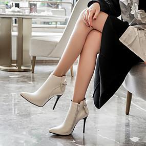 billige Mote Boots-Dame Støvler Stiletthæl Spisstå Sløyfe PU Ankelstøvler Klassisk Høst vinter Hvit / Svart / Rød / Bryllup / Fest / aften