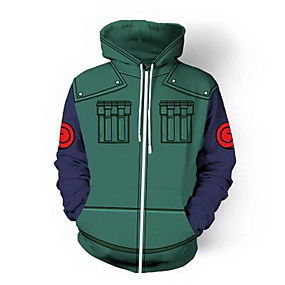 cheap Athleisure Wear-Inspired by Naruto Hatake Kakashi Naruto Uzumaki Cosplay Coat Terylene Print Hoodie For Women's / Men's