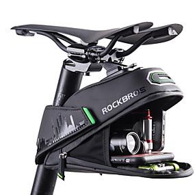 preiswerte Fahrradsatteltaschen-ROCKBROS 1/1.5 L Fahrrad-Sattel-Beutel Reflektierend Hohe Kapazität Regenfest Fahrradtasche Polyester PU Tasche für das Rad Fahrradtasche Rennrad Geländerad / Wasserdichter Verschluß