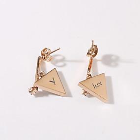 preiswerte Gravierte Ohrringe-Personalisiert Angepasst Ohrring Edelstahl Klassisch Graviert Geschenk Festival Dreieck Tropfen 2 Stücke Rotgold