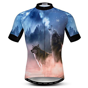 cheap Cycling & Motorcycling-21Grams 3D Wolf Animal Men's Short Sleeve Cycling Jersey - Brown+Gray Bike Jersey Top Quick Dry Moisture Wicking Breathable Sports Summer Elastane Polyester Mountain Bike MTB Road Bike Cycling