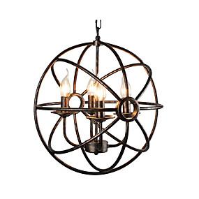povoljno Viseća rasvjeta-sferični privjesak svjetlo antički globus metalni luster 4 svjetla ulje gumiran brončana lopta privjesak svjetlo stropno svjetlo učvršćenje za spavaću sobu hodnik