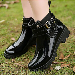 cheap Fashion Boots-Women's Boots Chunky Heel PVC Booties / Ankle Boots Spring &  Fall Black / Red / Blue