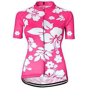 cheap Cycling & Motorcycling-21Grams Women's Short Sleeve Cycling Jersey Black Purple Blushing Pink Floral Botanical Plus Size Bike Jersey Top Mountain Bike MTB Road Bike Cycling Breathable Quick Dry Sweat-wicking Sports Terylene