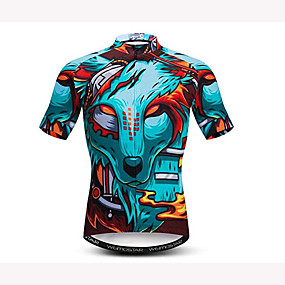 cheap Cycling & Motorcycling-21Grams 3D Lion Animal Men's Short Sleeve Cycling Jersey - Sky Blue Bike Jersey Top Quick Dry Moisture Wicking Breathable Sports Summer Elastane Polyester Mountain Bike MTB Road Bike Cycling Clothing