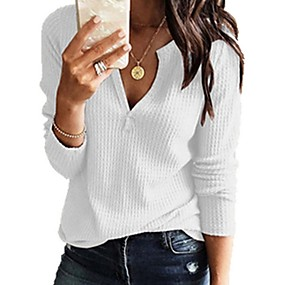 cheap Winter Clothing-Women's Casual / Basic Knitting Solid Colored Long Sleeve Pullover Sweater Jumper, V Neck Spring / Fall Black / White / Blushing Pink S / M / L
