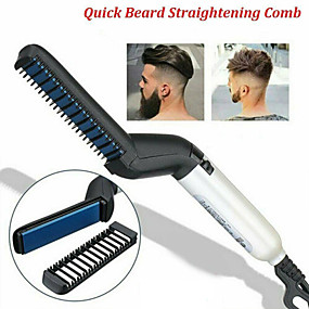 cheap Hair Straightener-Multifunctional Men Hair Curler Comb Curling Iron Straighten Hair Styler Styling Combs Tool Quick Electric Heating Hair Brush
