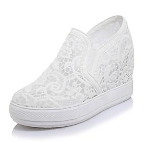 voordelige Damesinstappers & loafers-Dames Loafers & Slip-Ons Sleehak Ronde Teen Netstof Informeel Zomer Wit / Zwart / Roze