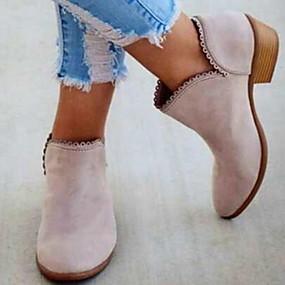 billige Mote Boots-Dame Støvler Blokker hælen Spisstå Semsket lær Ankelstøvler Sommer Svart / Rød / Rosa