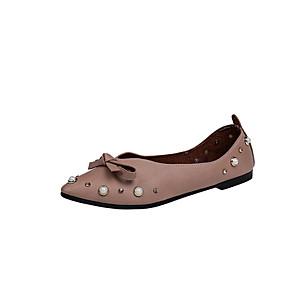 voordelige Damesschoenen met platte hak-Dames Platte schoenen Platte hak Gepuntte Teen Strik PU Zomer Lichtbruin / Wit / Beige