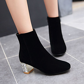 cheap Fashion Boots-Women's Boots Formal Shoes Chunky Heel Round Toe PU(Polyurethane) Booties / Ankle Boots British / Minimalism Fall & Winter Beige / Fuchsia / Blue / Party & Evening