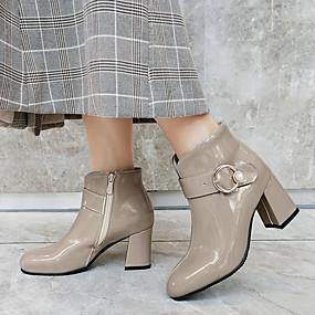 billige Mote Boots-Dame Støvler Tykk hæl Rund Tå Lakklær Ankelstøvler Klassisk / minimalisme Sommer / Høst vinter Svart / Burgunder / Grå