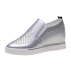 voordelige Damesinstappers & loafers-Dames Loafers & Slip-Ons Verborgen hiel PU Zomer Wit / Zwart / Zilver