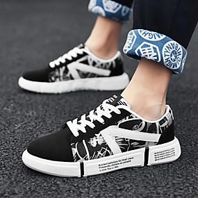 voordelige Damessneakers-Unisex Sneakers Creepers Ronde Teen Canvas Informeel Wandelen Zomer zwart / wit / Regenboog