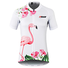 cheap Cycling & Motorcycling-21Grams Women's Short Sleeve Cycling Jersey Summer Spandex Polyester White Flamingo Floral Botanical Cactus Bike Jersey Quick Dry Moisture Wicking Breathable Reflective Strips Back Pocket Sports