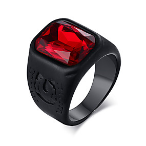 cheap Graduation-Men's Ring Synthetic Ruby 1pc Black Titanium Steel Geometric Basic Rock Hippie Wedding Party Jewelry Vintage Style