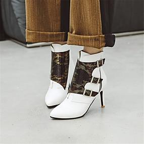 billige Mote Boots-Dame Støvler Stiletthæl Spisstå PU Ankelstøvler Høst vinter Svart / Hvit / Gul / Fest / aften
